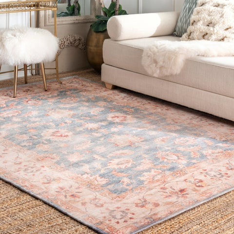 Porch & Den Beecher Blue Faded Floral Border Area Rug