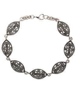 Glitzy Rocks Sterling Silver Marcasite Link Bracelet