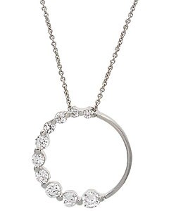 Icz Stonez Sterling Silver Cubic Zirconia Circle Journey Pendant