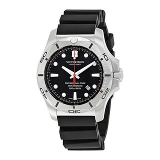 Victorinox I.N.O.X. Black Dial Rubber-Silicone Strap Men's Watch 241733