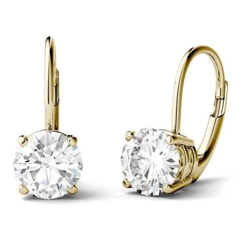 Moissanite by Charles & Colvard 14k Gold 3.00 DEW Leverback Earrings