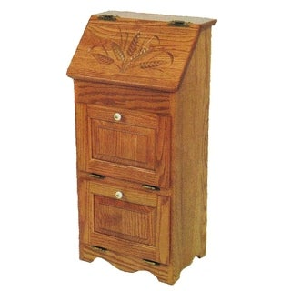 Oak Flip Top Vegetable Bin with 2 Additional Doors - Wheat Carving