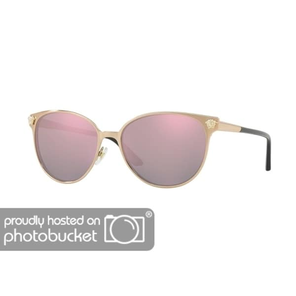 c936b42129 Shop Versace VE2168 Woman Pink Gold Frame Dark Grey Mirror Pink Lens  Sunglasses - Free Shipping Today - Overstock - 25416275