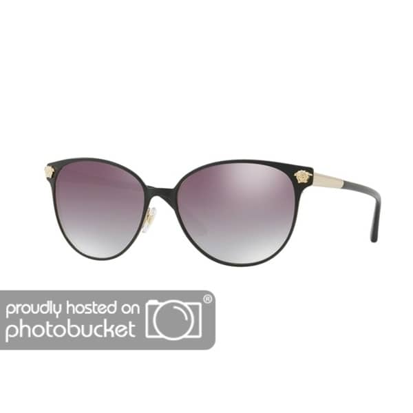 7e276cedd2913 Shop Versace VE2168 Woman Matte Black Pale Gold Frame Clear Grad Grey Mirror  Silver Lens Sunglasses - Free Shipping Today - Overstock - 25416277