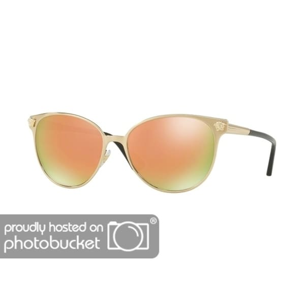 e91600d1c5a9 Shop Versace VE2168 Woman Brushed Pale Gold Frame Grey Mirror Rose Gold  Lens Sunglasses - Free Shipping Today - Overstock - 25416289