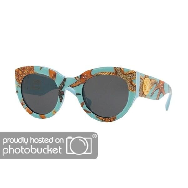 a451e78fa96db Shop Versace VE4353 Woman Sea Azure Frame Grey Lens Sunglasses - Free  Shipping Today - Overstock - 25416338