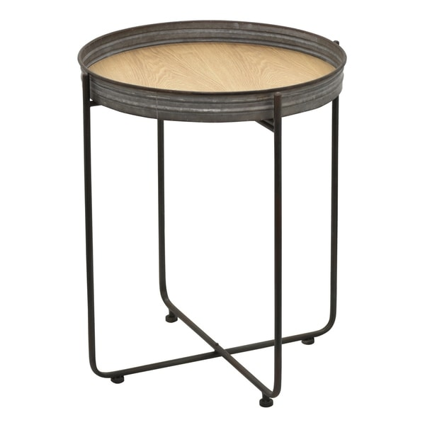 Three Hands Grey Metal and Wood 29.5-inch Side Table