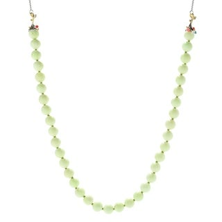 Michael Valitutti Palladium Silver Lemon Magnesite, Pink and White Coral & Kingman Turquoise Bead Necklace
