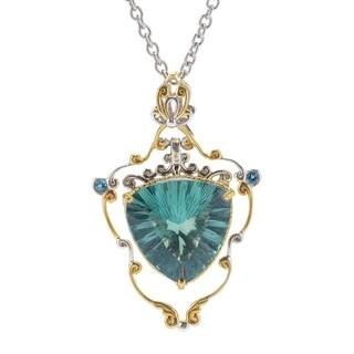 Michael Valitutti Palladium Silver Green-Blue Fluorite & London Blue Topaz Pendant