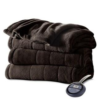Sunbeam Heated Electric Blanket Channeled Microplush Full Size Walnut Brown