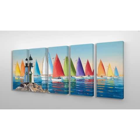 Stupell Home Decor Collection 'Rainbow Sails Sailboat Ocean Horizon' 5-piece Canvas Wall Art Set