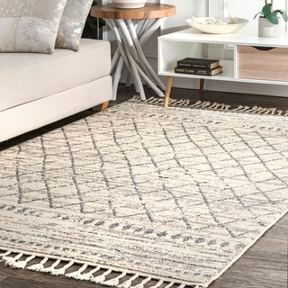 The Curated Nomad Ashbury Ivory Moroccan Diamond Stripe Fringed Area Rug