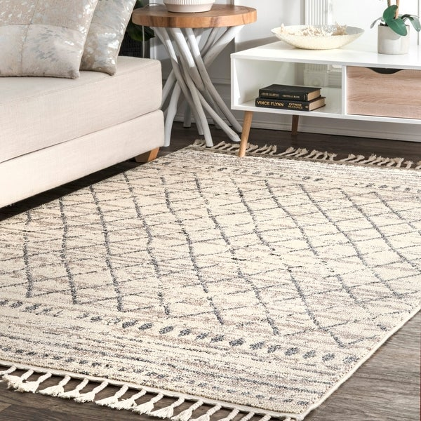The Curated Nomad Ashbury Ivory Transitional Morrocan Aztec Diamond Stripe Fringed Area Rug