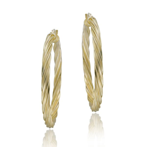 Mondevio 18k Gold over Silver Corrugated Hoop Earrings