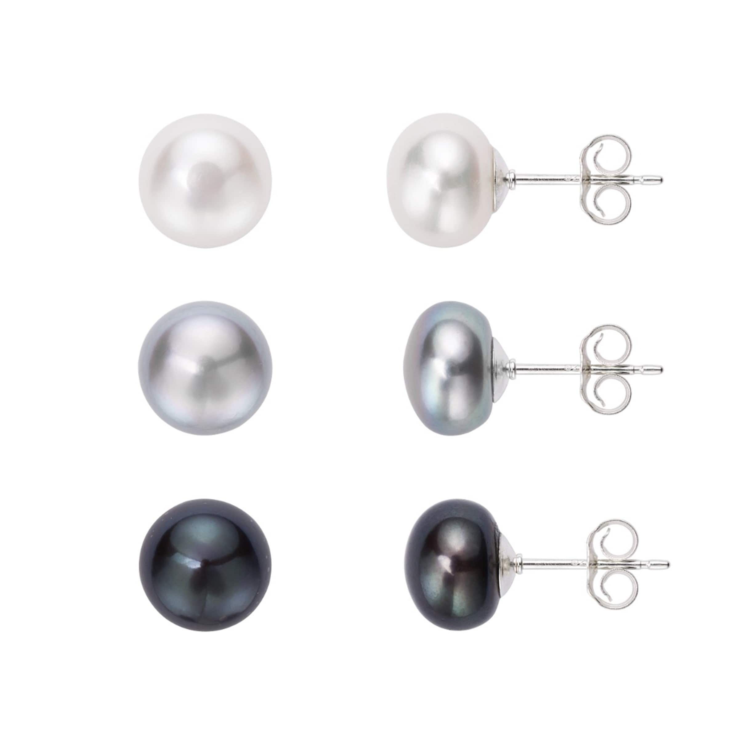 23d88e7d7 Shop Pearlyta Sterling Silver 925 Set of 3 Pairs of Freshwater Pearl Button  Stud Earrings - White/Grey/Black (8-9mm) - On Sale - Free Shipping On  Orders ...