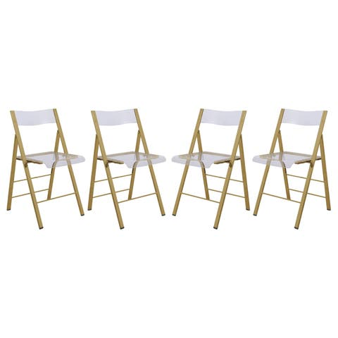 LeisureMod Menno Clear Gold Chrome Frame Folding Dining Chair Set of 4