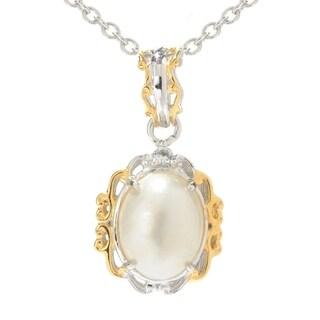 Michael Valitutti Palladium Silver June Birthstone White Mabe Pearl Mini Cocktail Pendant