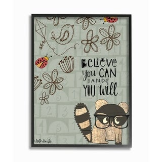 The Kids Room By Stupell Believe You Can Floral Pattern Woodland Creature Framed Wall Art, 11x14, Proudly Made in USA