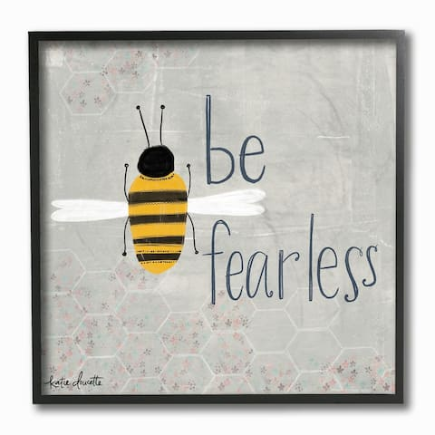 The Kids Room By Stupell Grey and Yellow Be Fearless Bee Framed Wall Art, 12x12, Proudly Made in USA - Multi-color - 12 x 12