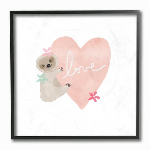 The Kids Room By Stupell Sloth Love Hugging a Pink Heart with Flowers Framed Wall Art, 12x12, Proudly Made in USA