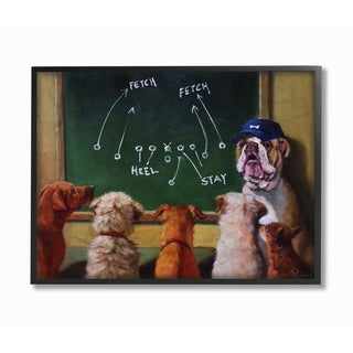 The Stupell Home Decor Collection Dog Football Team New Tricks Practice Framed Wall Art, 11x14, Proudly Made in USA