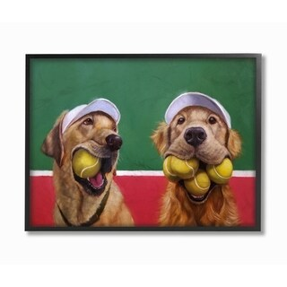 The Stupell Home Decor Collection Mouth Full Tennis Ball Retriever Dogs Framed Wall Art, 11x14, Proudly Made in USA
