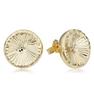 14k Yellow Gold Diamond Cut Round Stud Earrings