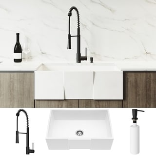 VIGO 30-inch Square Matte Stone Kitchen Sink Set with Laurelton Faucet