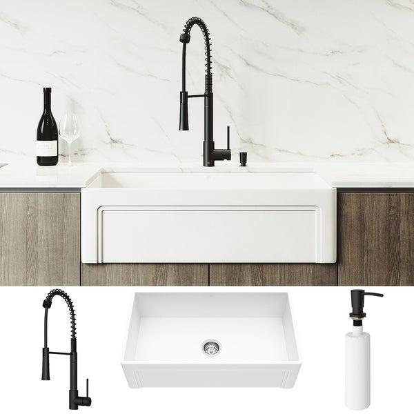 VIGO 33-inch Matte Stone Kitchen Sink Set with Laurelton Faucet