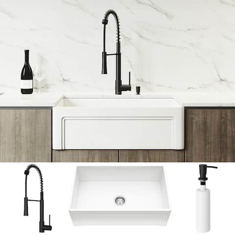 VIGO 30-inch Matte Stone Kitchen Sink Set with Laurelton Faucet