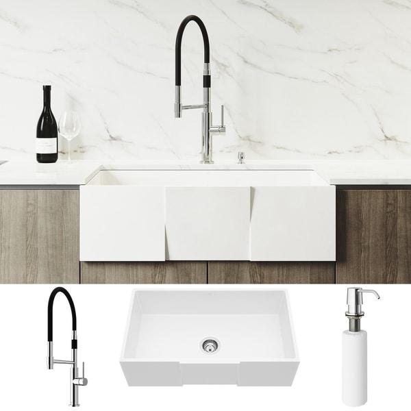VIGO Square Front Matte Stone Kitchen Sink Set with Norwood Faucet