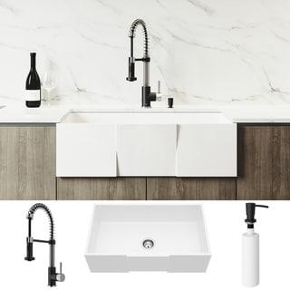 VIGO Square Front Matte Stone Kitchen Sink Set with Edison Faucet