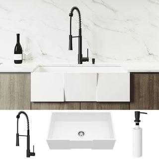 VIGO 33-inch Square Matte Stone Kitchen Sink Set with Laurelton Faucet