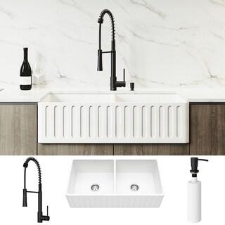 VIGO Matte Stone Double Bowl Kitchen Sink Set and Laurelton Faucet