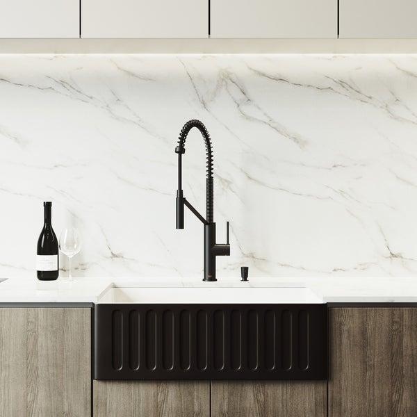 VIGO Black Kitchen Sink Set and Livingston Magnetic Kitchen Faucet