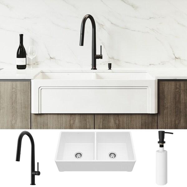 VIGO Matte Stone Double Bowl Kitchen Sink Set and Greenwich Faucet