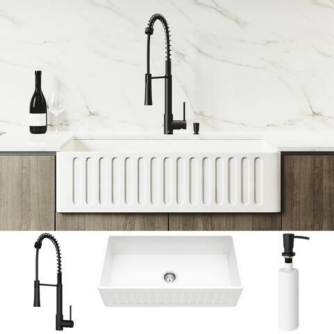 VIGO 36-inch Matte Stone Kitchen Sink Set with Laurelton Faucet