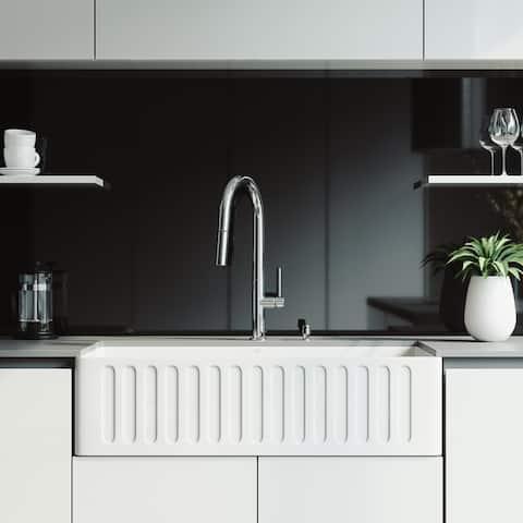 VIGO 36-inch Matte Stone Kitchen Sink Set with Greenwich Faucet