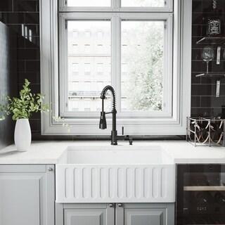 VIGO 30-inch Matte Stone Kitchen Sink Set and Brant Faucet