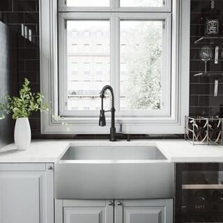 VIGO 30-inch Camden Stainless Steel Kitchen Sink Set with Brant Faucet