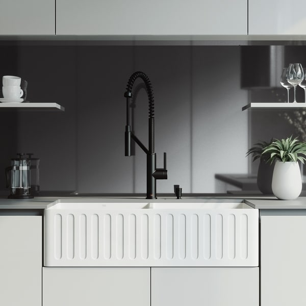 VIGO 36-inch Matte Stone Double Bowl Sink Set with Livingston Faucet