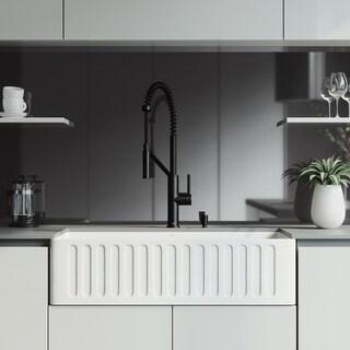 VIGO 36-inch Matte Stone Kitchen Sink Set with Livingston Faucet