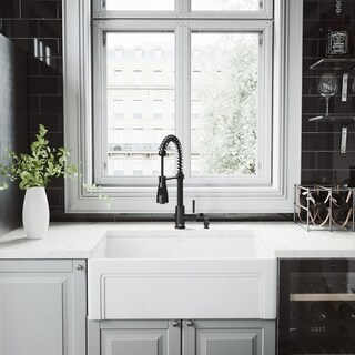 VIGO Matte Stone Farmhouse Apron Kitchen Sink Set and Brant Faucet