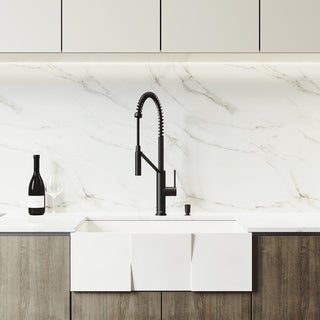 VIGO Square Matte Stone Kitchen Sink Set with Livingston Faucet