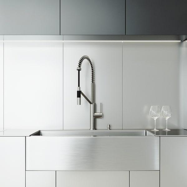 VIGO Stainless Steel Farmhouse Apron Kitchen Sink Set with Faucet