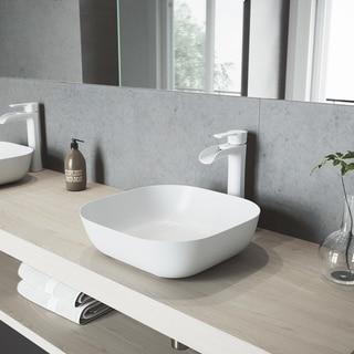 VIGO Camellia Matte Stone Bathroom Sink Set with Niko Vessel Faucet