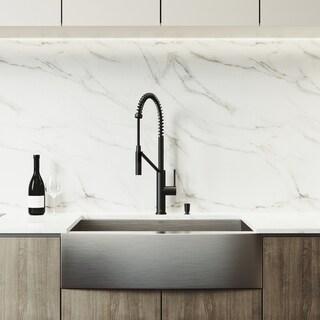 VIGO Camden Stainless Steel Kitchen Sink Set and Livingston Faucet