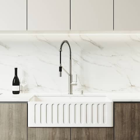VIGO 33-inch Matte Stone Kitchen Sink Set with Livingston Faucet