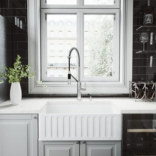 VIGO 30-inch Matte Stone Kitchen Sink Set with Livingston Faucet