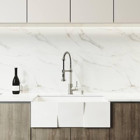 VIGO Square Farmhouse Apron Kitchen Sink Set with Edison Faucet